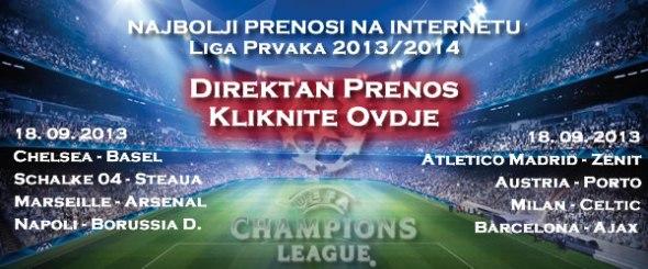 Kliknite ovdje za direktan prenos utakmica Lige prvaka 18 09 2013